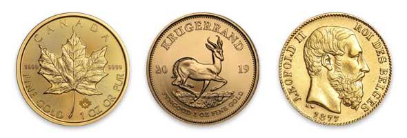 gouden munten kopen uitgebeeld door 3 verschillende gouden munten